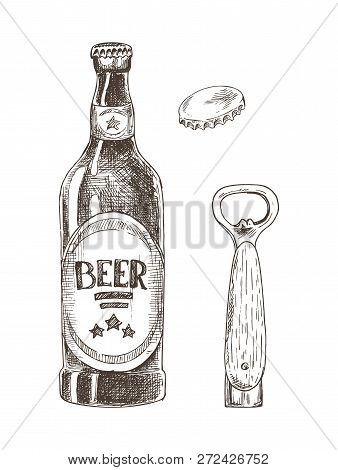 Beer And Bottle Opener With Cap Isolated On White Vector Illustration, Graphic Image Made By Pencil,