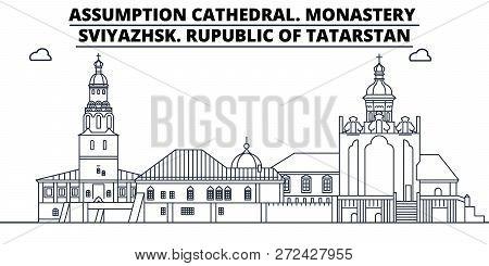Russia, Tatarstan, Assumption Cathedral. Monastery, Sviyazhsk Travel Famous Landmark Skyline, Panora