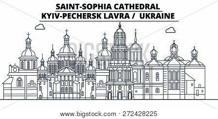 Ukraine - Kyiv-pechersk Lavra Travel Famous Landmark Skyline, Panorama, Vector. Ukraine - Kyiv-peche