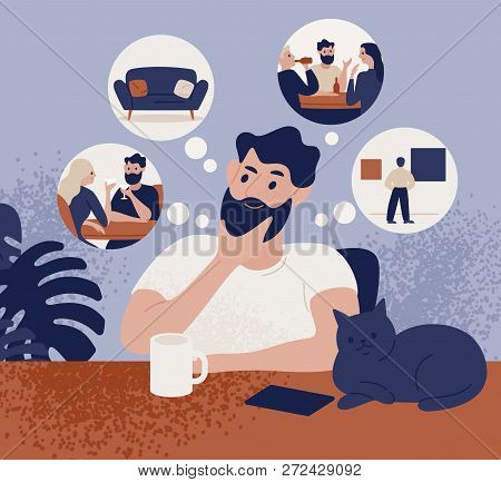 Thoughtful Bearded Man Sitting At Table And Thinking Of Leisure Or Recreational Activities To Choose