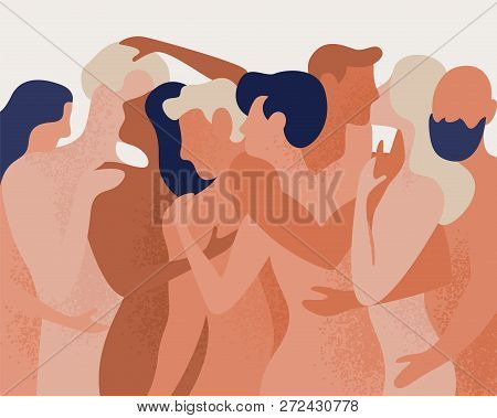 Crowd Of Naked Men And Women Hugging And Kissing. Concept Of Polygamy, Polyamory, Open Intimate Roma