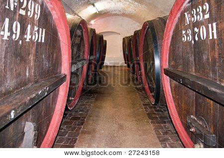 the old brewery. old beer barrels