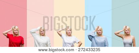Collage of beautiful blonde woman over colorful stripes isolated background confuse and wonder about question. Uncertain with doubt, thinking with hand on head. Pensive concept.