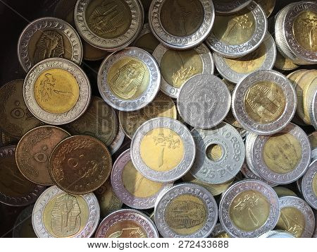 Egyptian Money. Metal Coins. Pounds And Piastres.