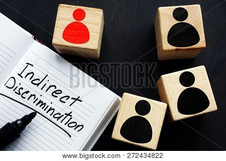 Indirect discrimination written in a note pad and cubes. poster