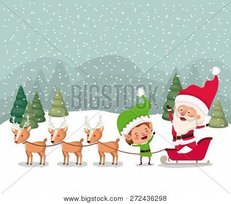Santa And Helper With Carriage Snowscape Vector Illustration
