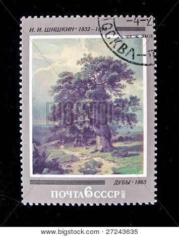 USSR - CIRCA 1982: A stamp printed in the USSR shows a painting by the russian artist 	 Shishkin