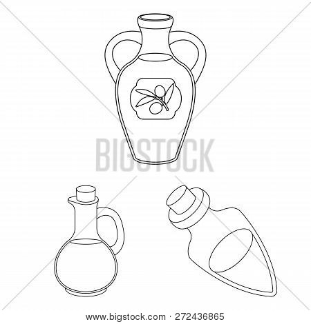 Isolated Object Of Food  And Bung Logo. Set Of Food  And Oil  Stock Vector Illustration.