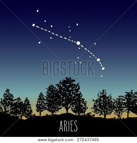 Aries - Hand Drawn Zodiac Sign Constellation In A Twilight Sky Over The Deciduous Forest. Vector Gra