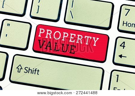 Conceptual hand writing showing Property Value. Business photo text Worth of a land Real estate appraisal Fair market price poster