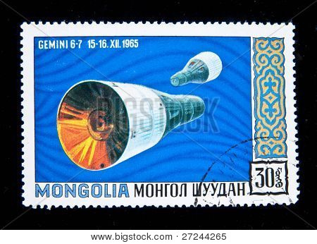 MONGOLIA - CIRCA 1965: A stamp printed in Mongolia shows the  spaceship Gemini, circa 1965.