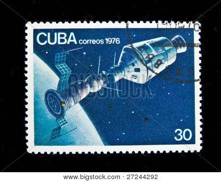 CUBA - CIRCA 1976: A stamp printed in Cuba shows The Soviet spaceship, circa 1976 Series