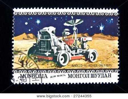 MONGOLIA - CIRCA 1979:  A stamp printed in Mongolia shows spaceship Apollo-15