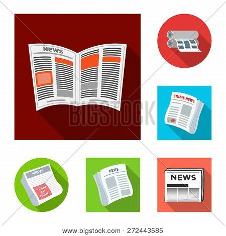 Vector Illustration Of Daily And Folded Logo. Set Of Daily And Paper Stock Vector Illustration.