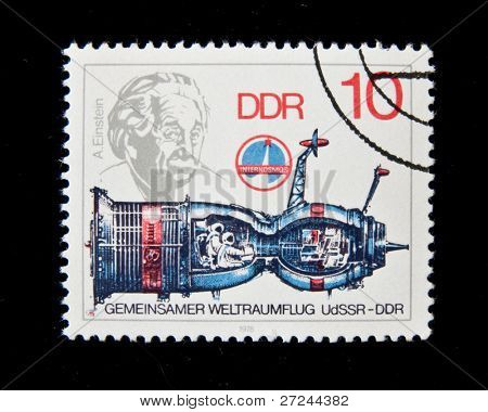 Germany - CIRCA 1979:  A stamp printed in Germany shows spaceship and Albert Einstein, circa 1979 Series