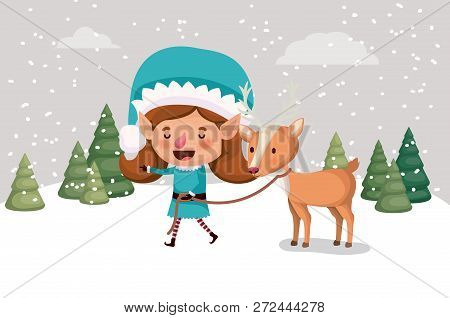 Girl Santa Helper With Reindeer In Snowscape Vector Illustration Design