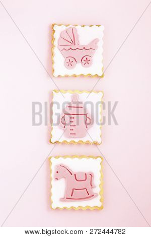 Pastries With Pink Stroller, Feeding Bottle And Horse, Newborn Girl Concept
