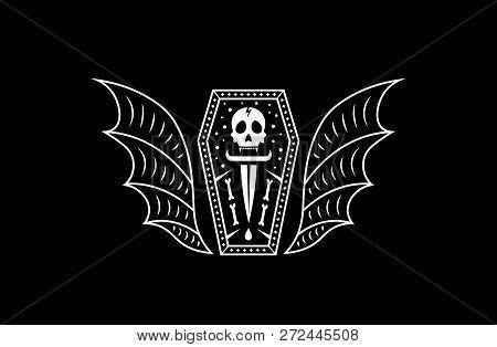 Skull Coffin Vampire. Logo Skull Vector Illustration.