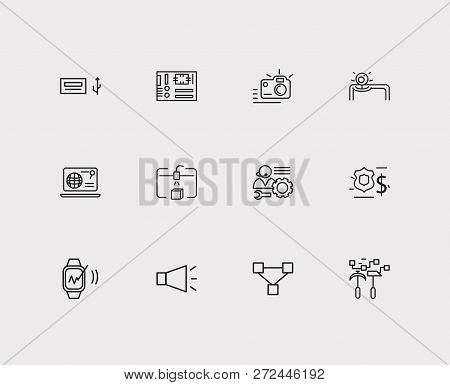 Electronics Icons Set. Steamroller And Electronics Icons With Mother Board, Web Browser And Usb Port