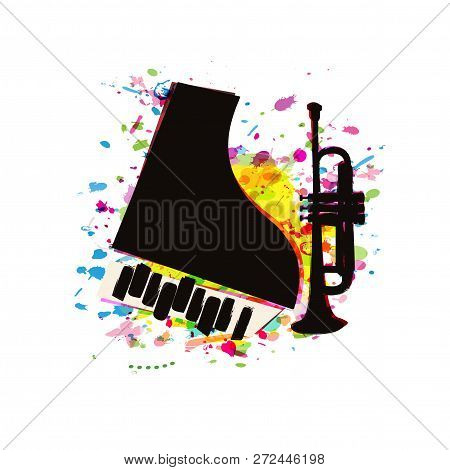 Music Festival Poster With Piano And Trumpet Flat Vector Illustration Design. Music Background With