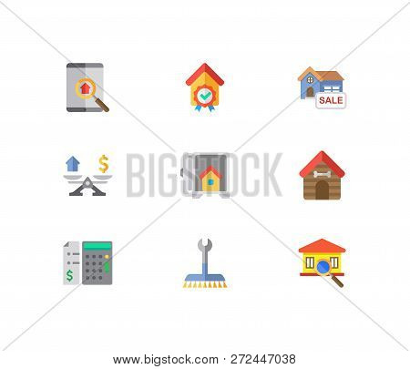 Property Icons Set. Inspection And Property Icons With House For Sale, Property Valuation And Animal