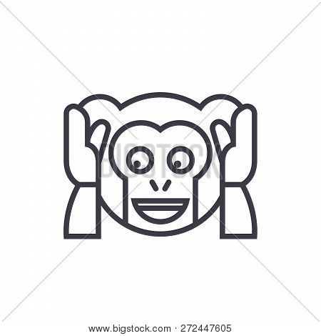 Speak No Evil Emoji Concept Line Editable Vector, Concept Icon. Speak No Evil Emoji Concept Linear E