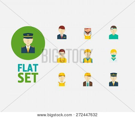 Occupation Icons Set. Arab Worker And Occupation Icons With Nurse, White Worker And Construction Wor