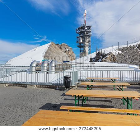 Mt. Titlis, Switzerland - October 12, 2015: View On The Top Of Mt. Titlis. The Titlis Is A Mountain,