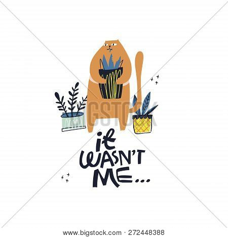 Guilty Cat Excuse Color Flat Hand Drawn Vector Character. Guilt Quote Handwritten Lettering. Cute, N