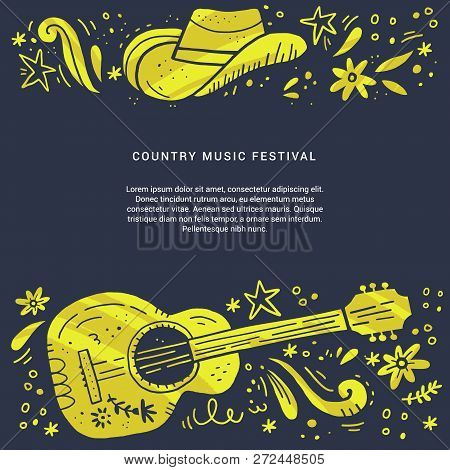 Country Music Festival Retro Poster Vector Template. Hand Drawn Live Music Concert, Event Banner Con
