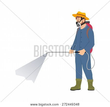 Farmer Spraying Chemicals Vector Icon Isolated Character. Man In Protective Suit And Respirator Spla
