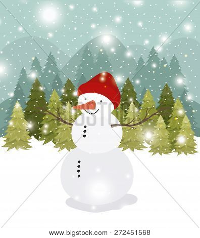 Mery Christmas Card With Snowman In Snowscape Vector Illustration