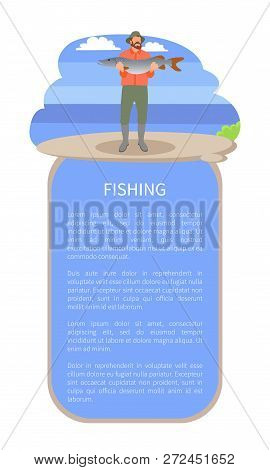 Fishing Poster Or Flyer With Man On River Or Lake Back And Text. Vector Fisherman In Fishery Overall