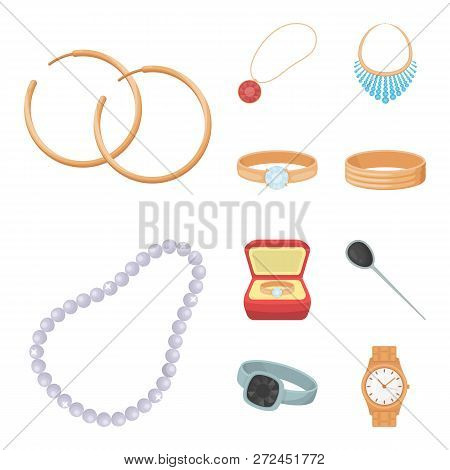 Vector Design Of Jewelery And Necklace Symbol. Set Of Jewelery And Pendent Stock Vector Illustration