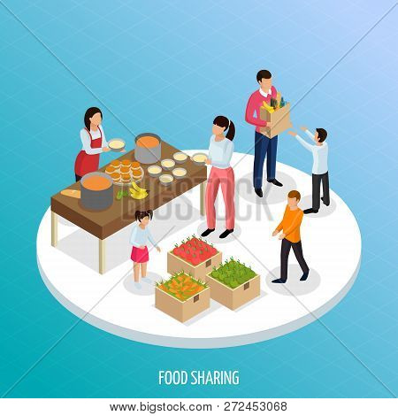 Sharing Economy Isometric Background With View Of Ripe Fruits And Ready Food For Sharing With People