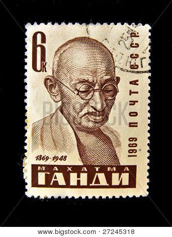 USSR - CIRCA 1969: A Stamp printed in the USSR shows Mohandas Karamchand Gandhi, circa 1969. Series 10 stamps