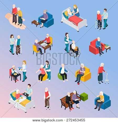 Elderly People Nursing Home Residents Isometric Icons Set With Medical Care Physical Activities Assi