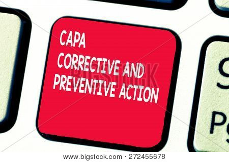 Conceptual Hand Writing Showing Capa Corrective And Preventive Action. Business Photo Text Eliminati