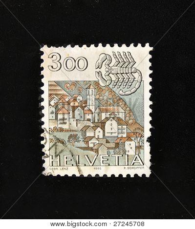 HELVETIA (SWITZERLAND) - CIRCA 1984: A Stamp printed in the HELVETIA shows Signo  Cancer, circa 1984.