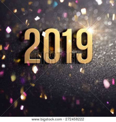 Happy New Year 2019 Date Number Colored In Gold, On A Festive Black Background, With Glitters And Co