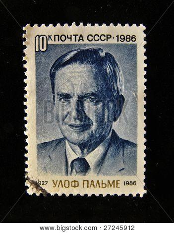 UdSSR etwa 1986: ein Stempel in der UdSSR gedruckt zeigt Portrait des Premierministers von Schweden, Sven