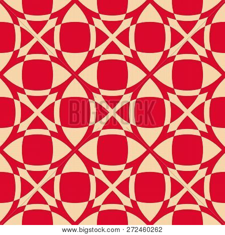 Vector Geometric Seamless Pattern. Luxury Red And Gold Texture With Smooth Grid, Squares, Crosses, N