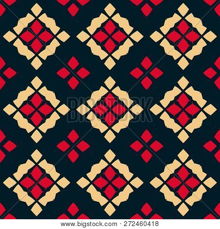 Vector Geometric Seamless Pattern. Traditional Folk Ornament. Ornamental Texture With Rhombuses, Flo