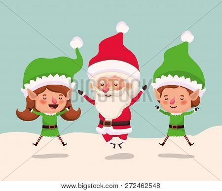 Couple Helpers With Santa Claus In Snowscape Vector Illustration Design
