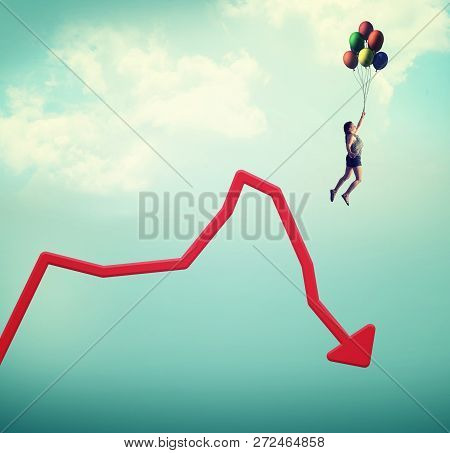 Woman Flying With Balloons Off A Decreasing Graph.