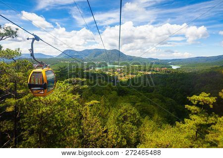 Beautiful Panorama Over Mountains And The Truc Lam Lake Seen From Cable Car, Dalat, Vietnam