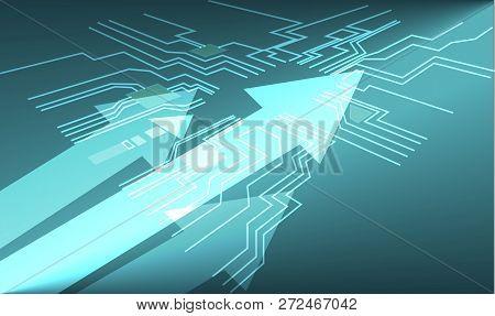 Arrow Motion On Circuit Board Digital Data Cyber Technology Background, Blue Digital Tech Communicat