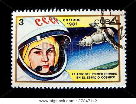 CUBA - CIRCA 1981: A stamp printed in the Cuba shows women cosmonaut Valentina Tereshkova, circa 1981. Big space series