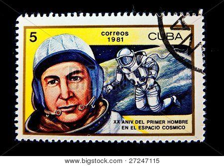 CUBA - CIRCA 1981: A stamp printed in the Cuba shows cosmonaut Alexey Leonov, circa 1981. Big space series