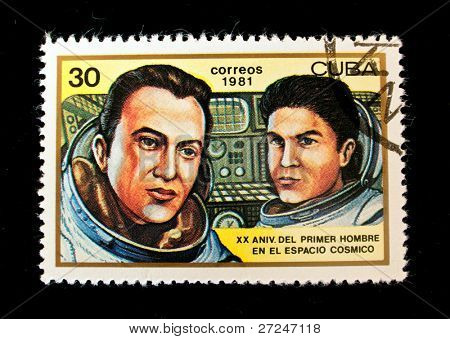CUBA - CIRCA 1981: A stamp printed in the Cuba shows cosmonauts Shonin and Kubasov, circa 1981. Big space series